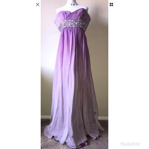 Samila Faded Lavender Hand Beaded Silk Gown Sz. 18